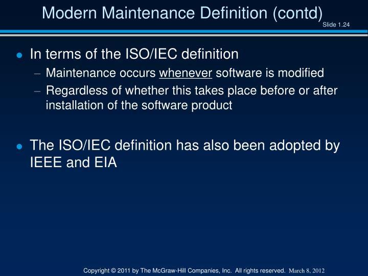 Modern Maintenance Definition (contd)