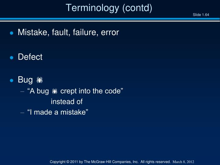 Terminology (contd)