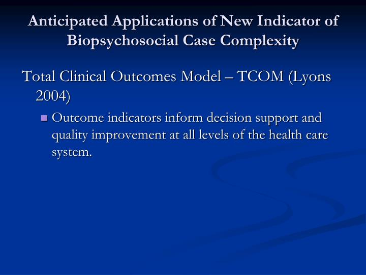 Anticipated Applications of New Indicator of Biopsychosocial Case Complexity