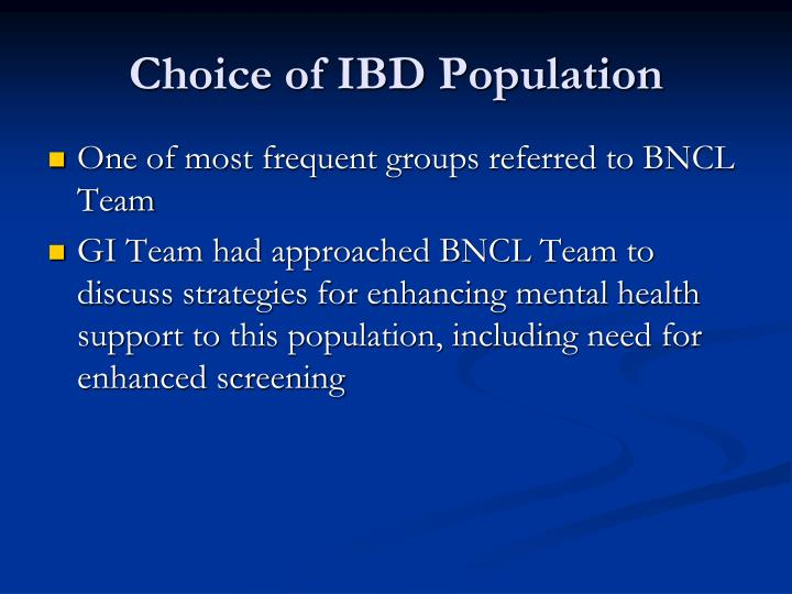 Choice of IBD Population
