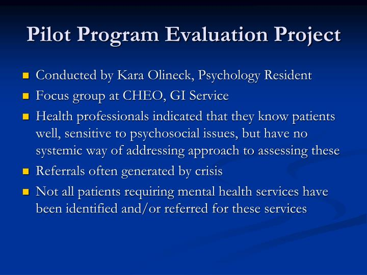 Pilot Program Evaluation Project
