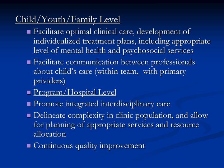 Child/Youth/Family Level