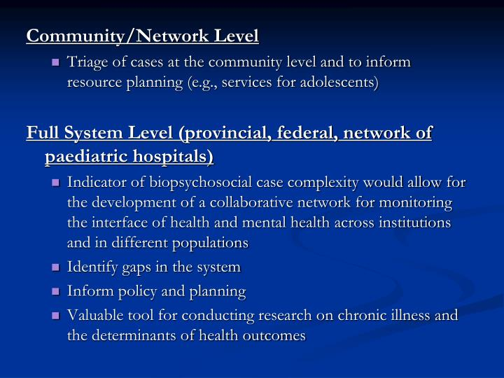 Community/Network Level