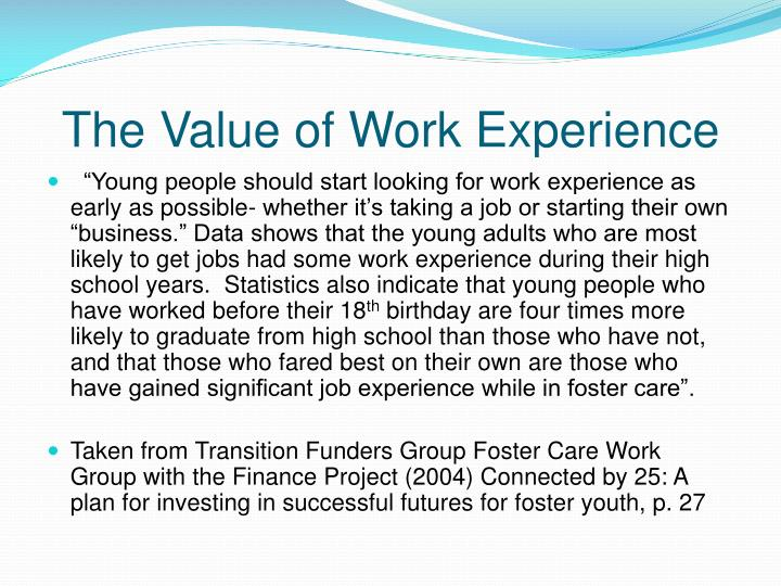 The Value of Work Experience