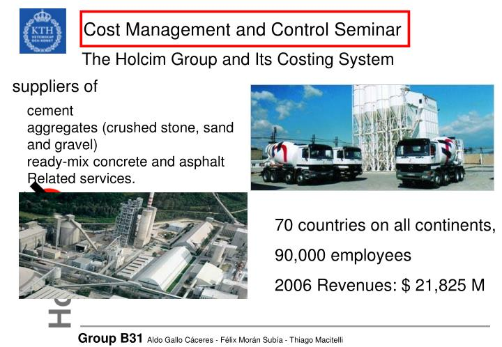 Cost management and control seminar
