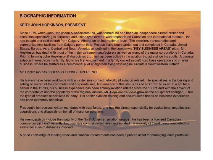 BIOGRAPHIC INFORMATION