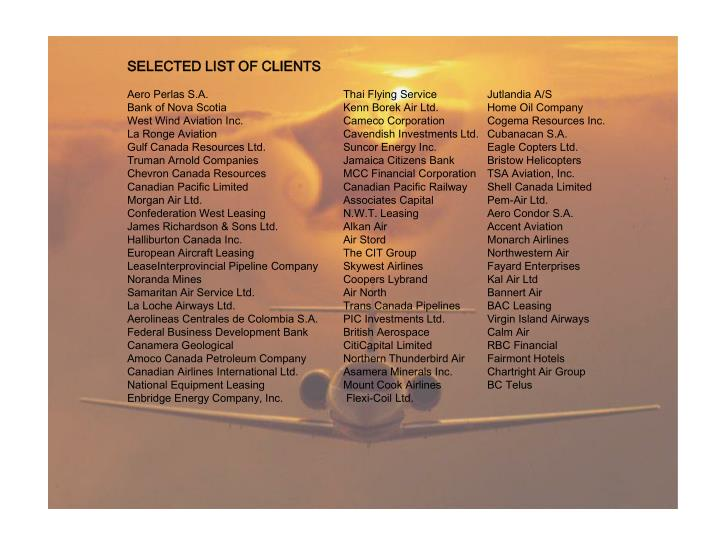 SELECTED LIST OF CLIENTS