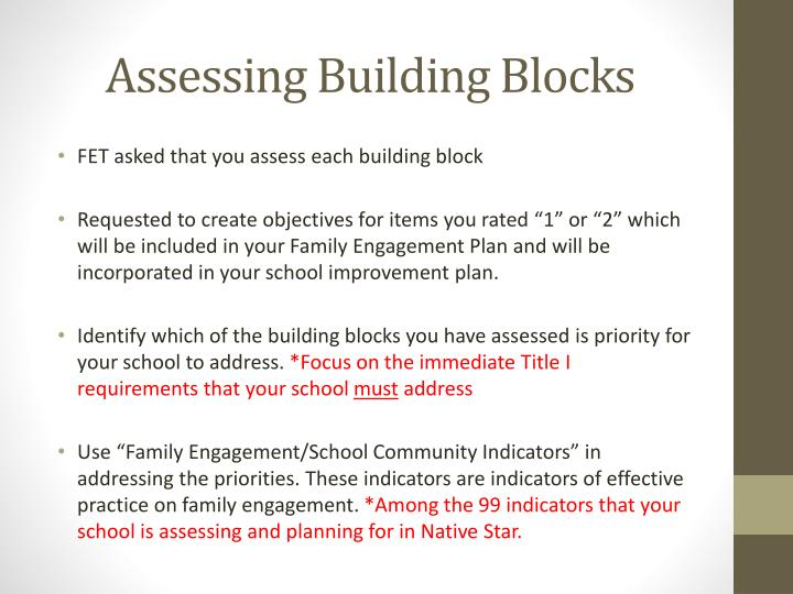 Assessing Building Blocks