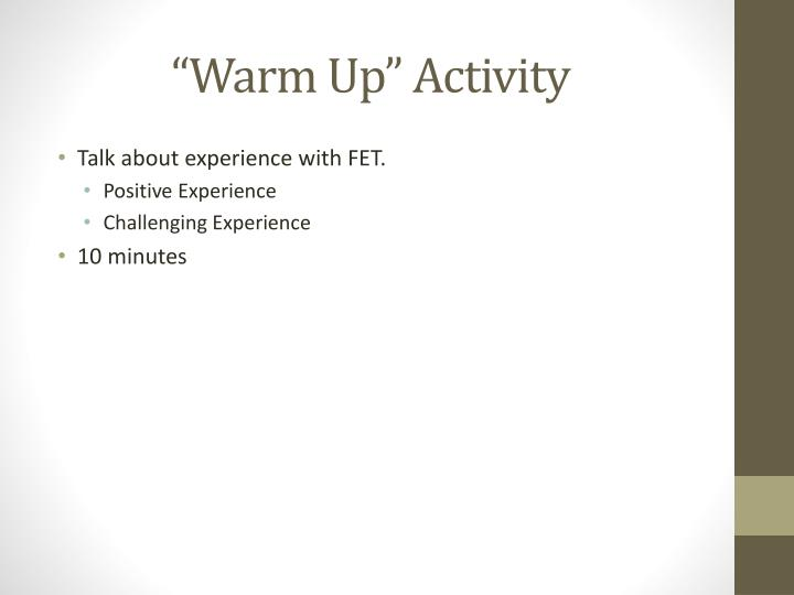 """Warm Up"" Activity"