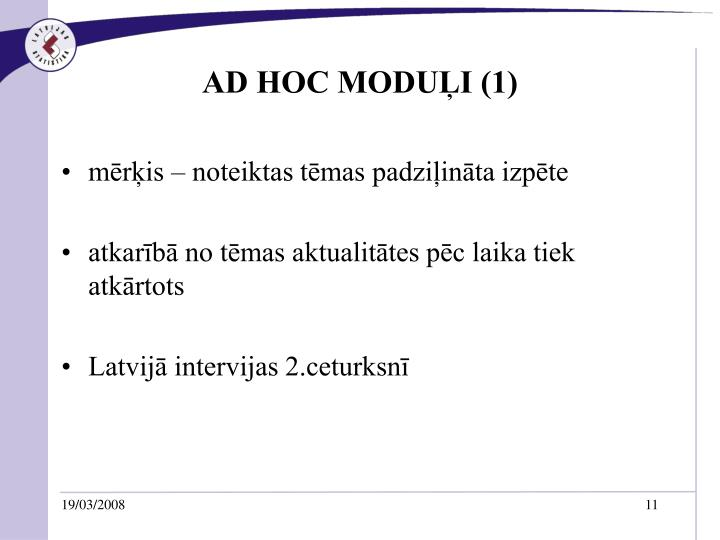 AD HOC MODUĻI (1)