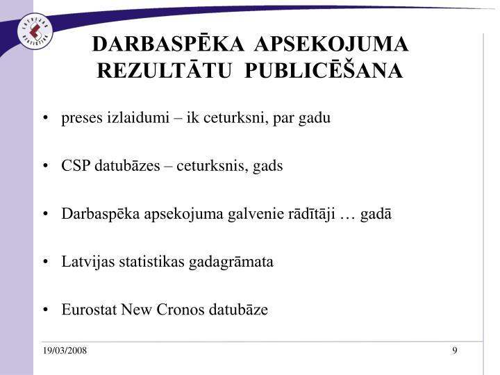 DARBASPĒKA  APSEKOJUMA REZULTĀTU  PUBLICĒŠANA