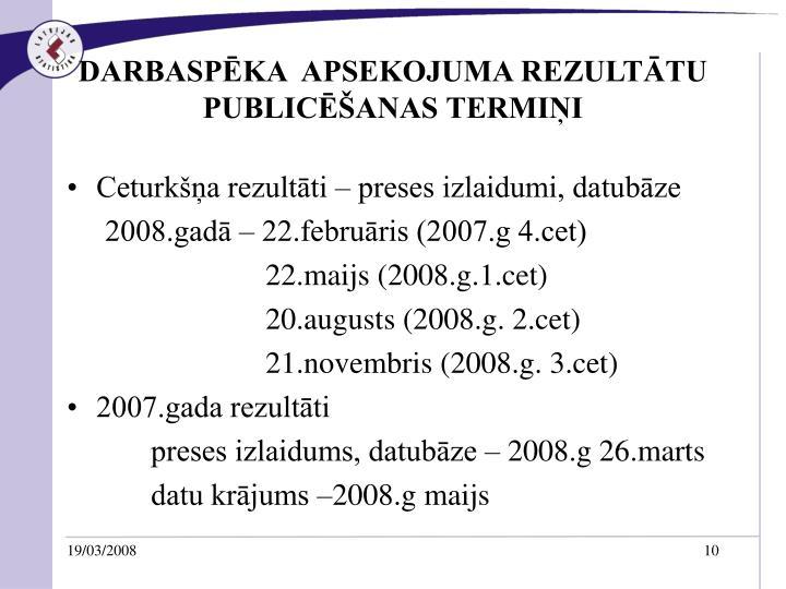 DARBASPĒKA  APSEKOJUMA REZULTĀTU  PUBLICĒŠANAS TERMIŅI