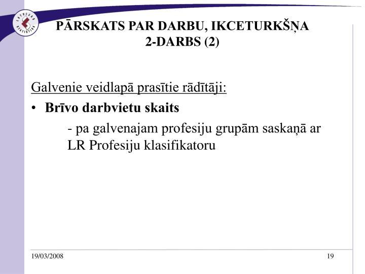 PĀRSKATS PAR DARBU, IKCETURKŠŅA
