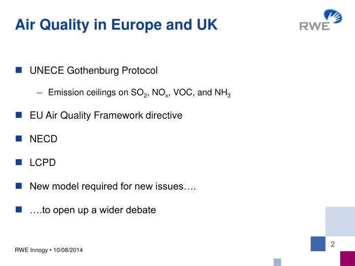 Air quality in europe and uk
