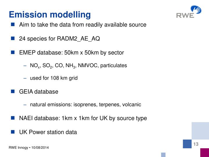 Emission modelling