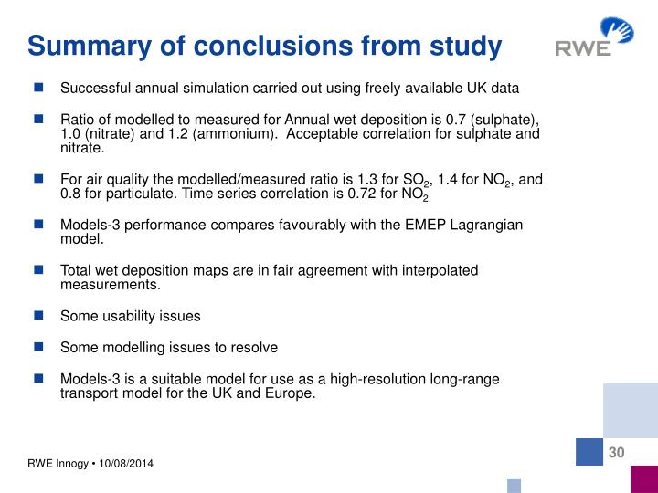 Summary of conclusions from study