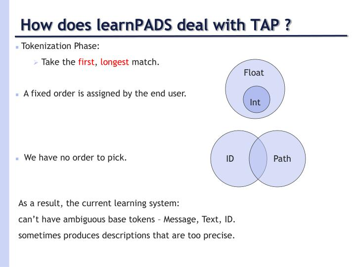 How does learnPADS deal with TAP ?