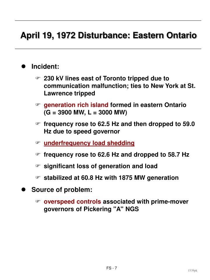 April 19, 1972 Disturbance: Eastern Ontario