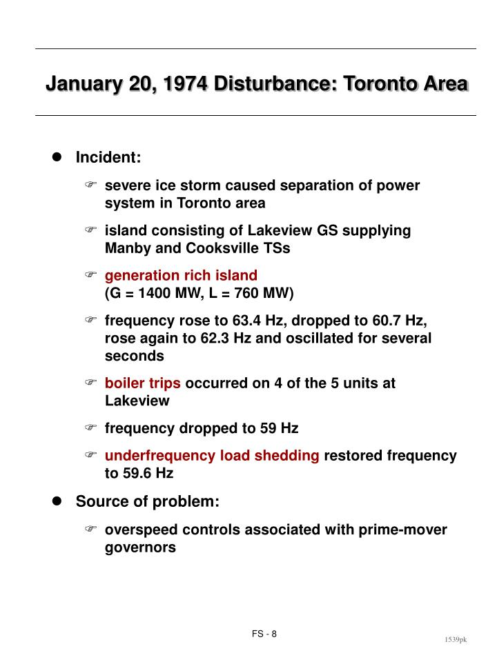 January 20, 1974 Disturbance: Toronto Area