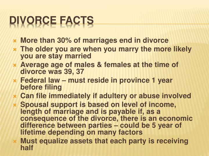 More than 30% of marriages end in divorce