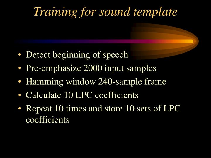 Training for sound template