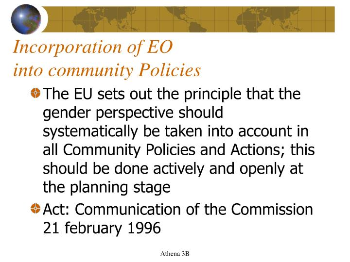 Incorporation of EO