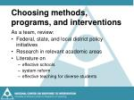 choosing methods programs and interventions