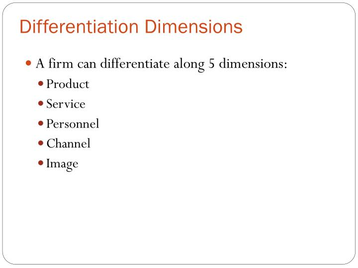 Differentiation Dimensions