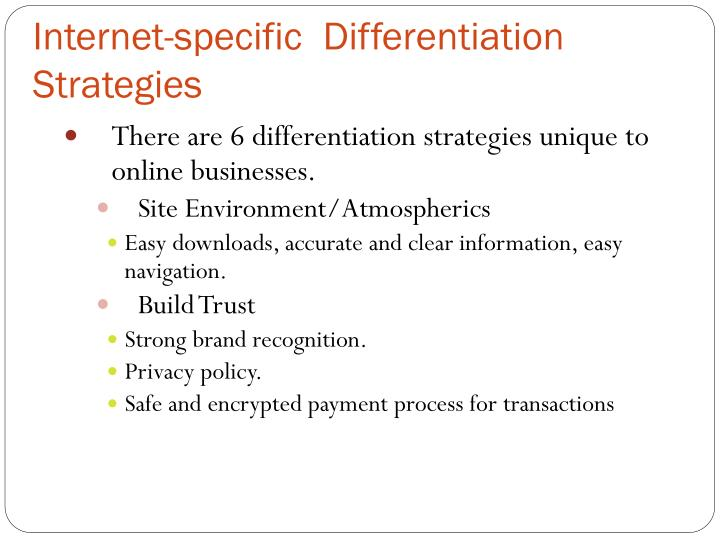 Internet-specific  Differentiation Strategies