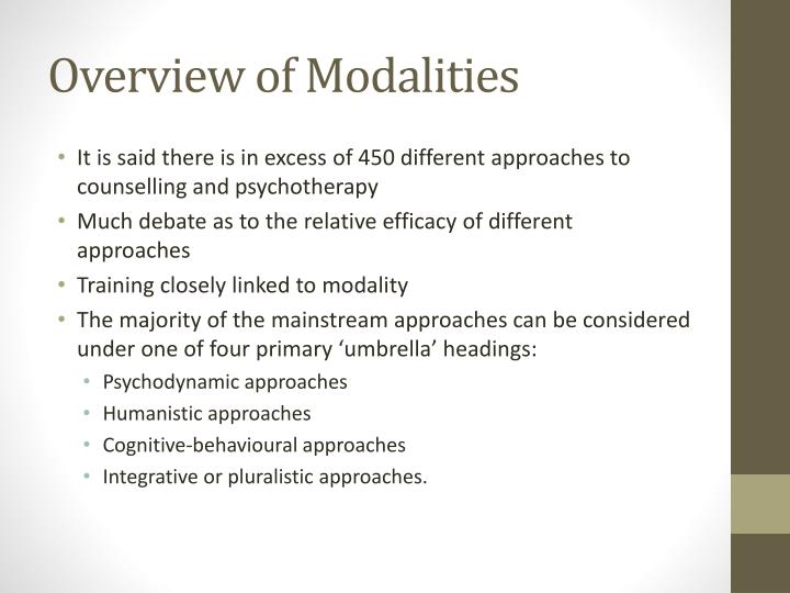 Overview of modalities