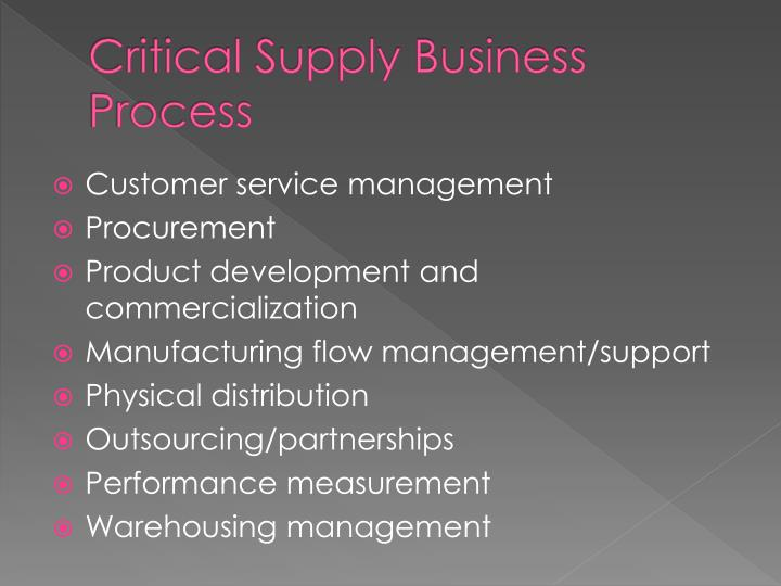 Critical Supply Business Process