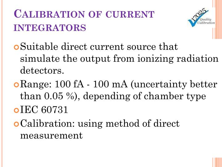 Calibration of current integrators