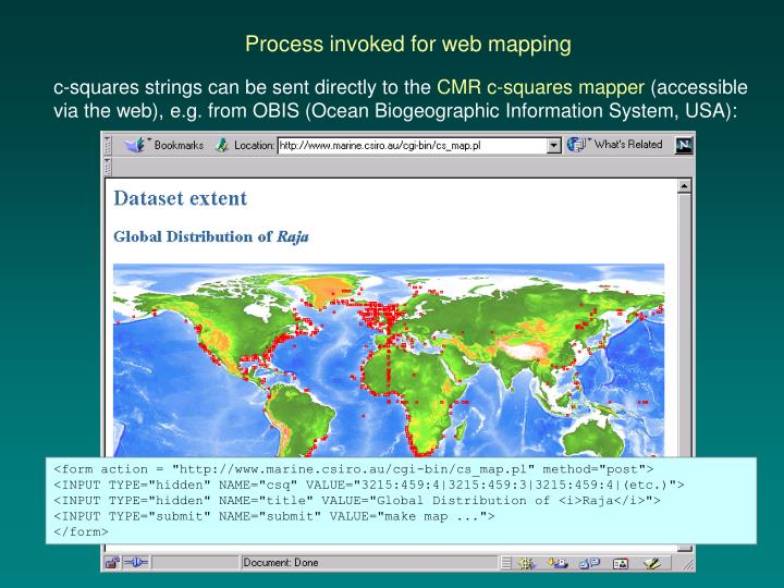 Process invoked for web mapping