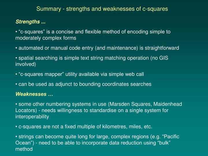 Summary - strengths and weaknesses of c-squares