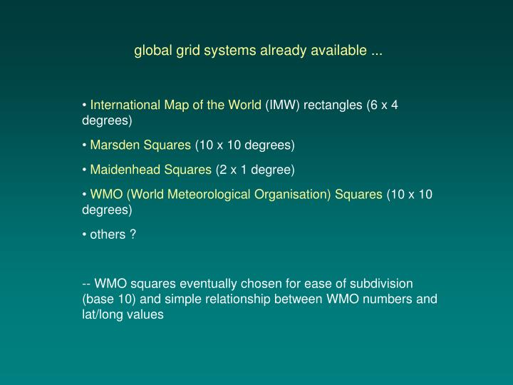 global grid systems already available ...