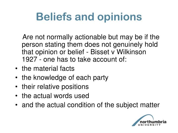 Beliefs and opinions