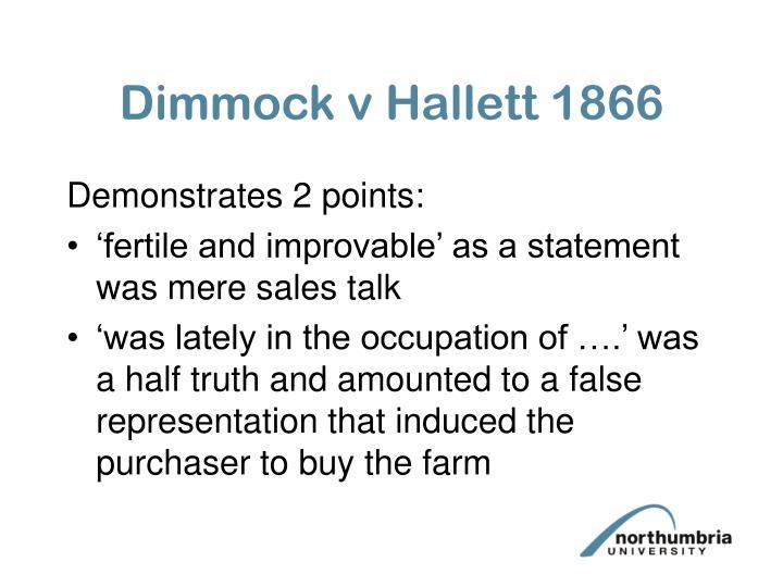 Dimmock v Hallett 1866