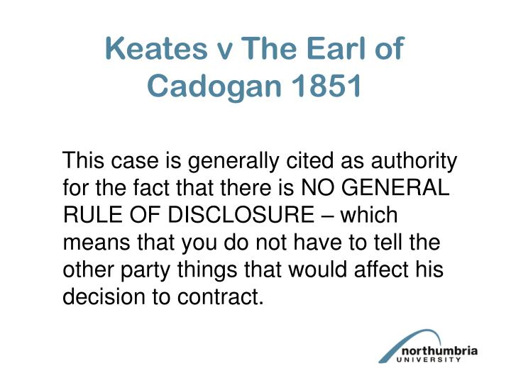 Keates v The Earl of Cadogan 1851