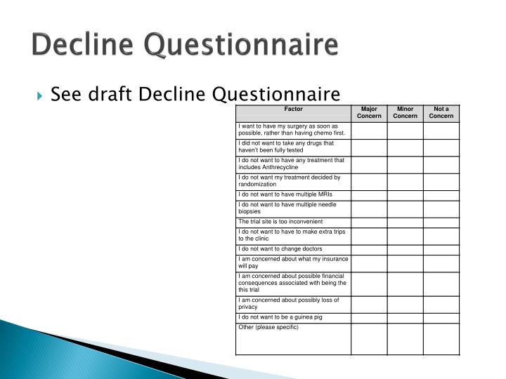 Decline Questionnaire