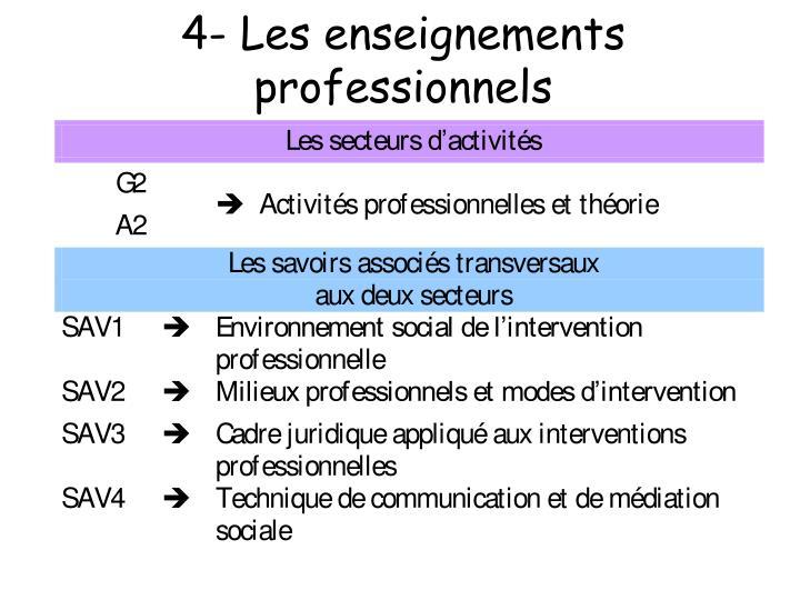 4- Les enseignements professionnels