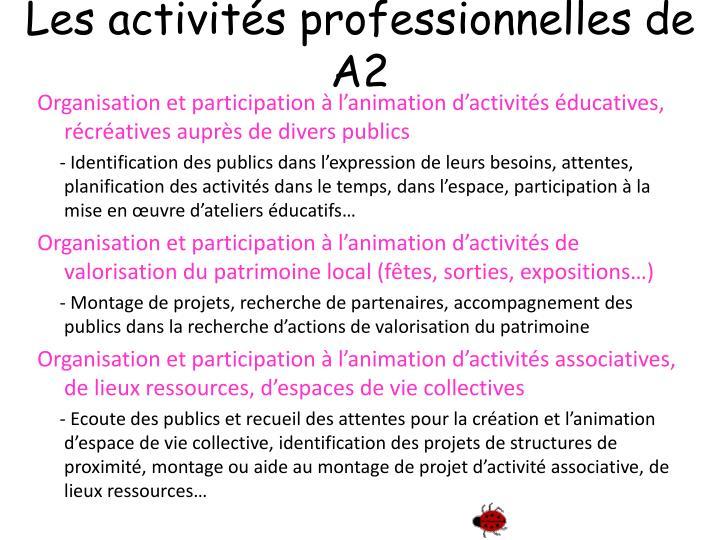 Les activités professionnelles de A2