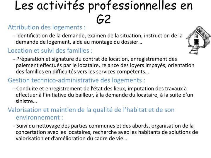 Les activités professionnelles en G2
