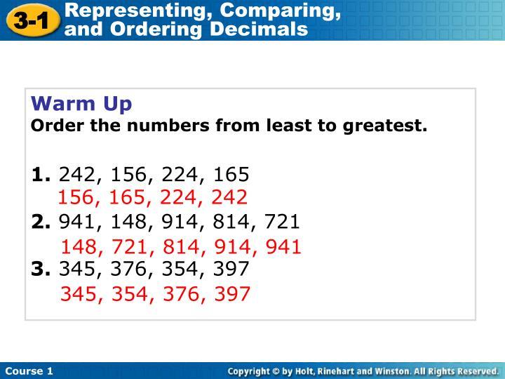 Representing, Comparing,                     and Ordering Decimals