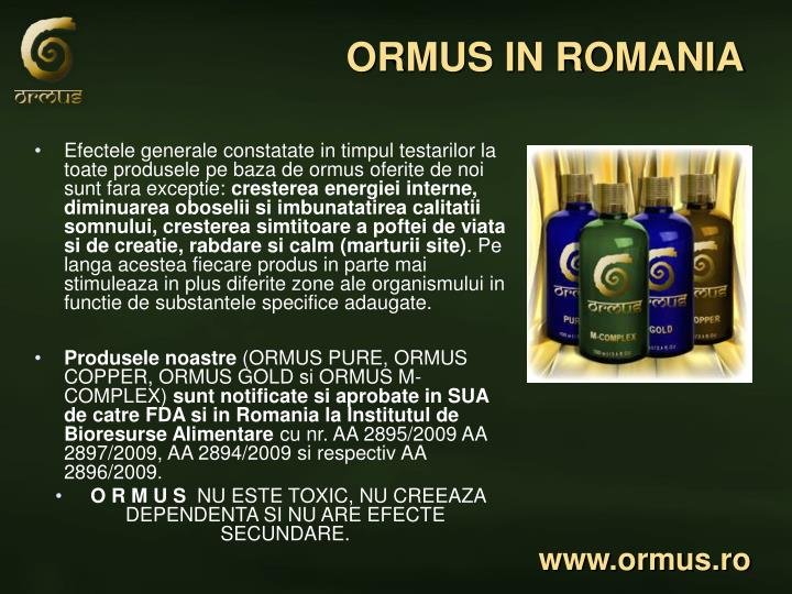 ORMUS IN ROMANIA