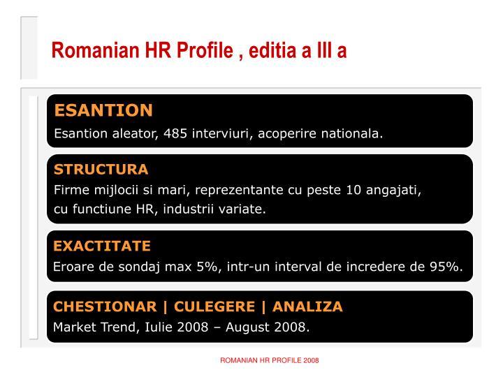 Romanian HR Profile , editia a III a