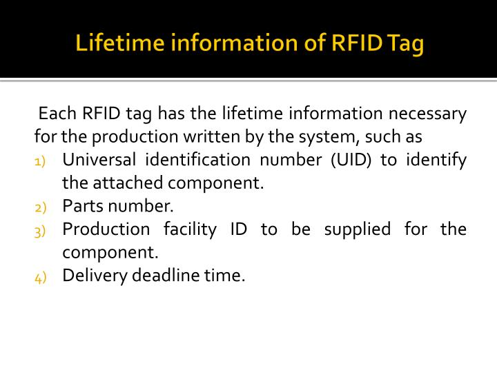 Lifetime information of RFID Tag