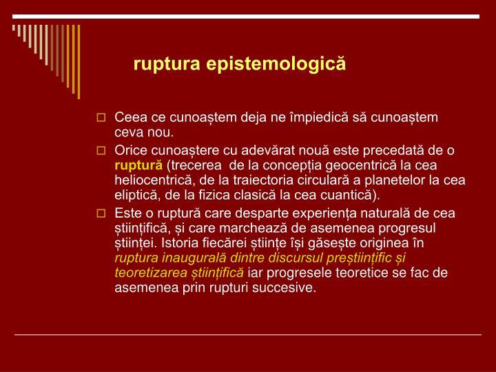 ruptura epistemologică