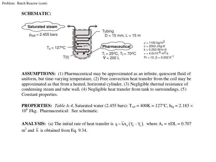 Problem:  Batch Reactor (cont)