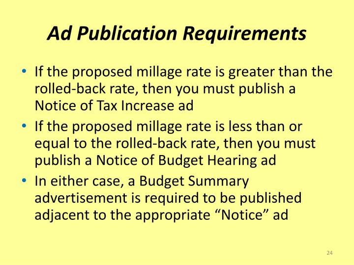 Ad Publication Requirements