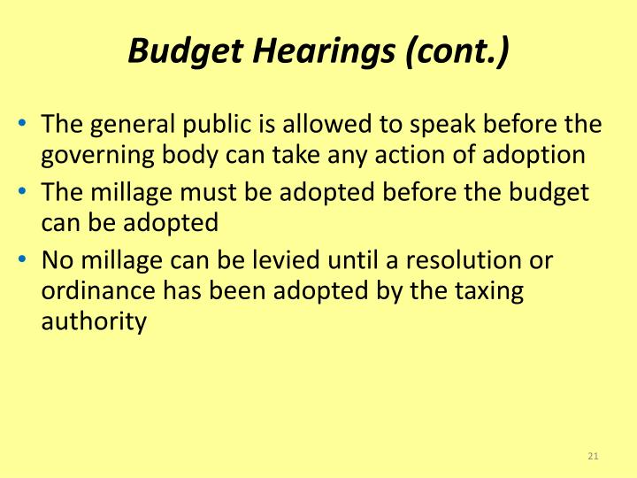 Budget Hearings (cont.)